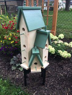 LARGE HANDCRAFTED WOODEN BIRD HOUSE CONDO BIRDHOUSE in Home & Garden, Yard, Garden & Outdoor Living, Bird & Wildlife Accessories | eBay