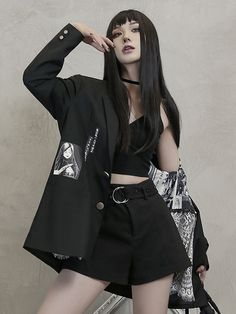 1/3 DELUSION and Junji Ito Collaboration Tomie Suit Coat by 1/3 DELUSION Nerd Fashion, Kawaii Fashion, Edgy Outfits, Fashion Outfits, Fashion Styles, Junji Ito, Lace Blazer, Prom Dresses Long With Sleeves, Thing 1
