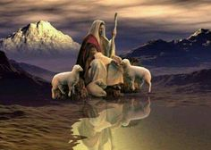 The good shepherd takes care of His sheep.