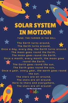 This is such a fun outer space action rhyme! Perfect for scarves and motions in storytime, or a brain break in the classroom. Try showing photos of the earth, moon, sun, and stars or making a felt for the flannel board to get the kids to participate more! Space Songs For Kids, Songs For Toddlers, Kids Songs, Space Theme Preschool, Preschool Songs, Nursery Songs, Nursery Rhymes, Poems About Stars, Outer Space Crafts