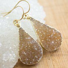 Gold Maple Sugar Druzy Teardrop Earrings  14K Gold Fill by OhKuol, $59.00