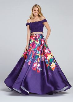 Ellie Wilde EW117001 - Two-piece lace and signature print Mikado dress set, off-the-shoulder scalloped lace cropped top with heat-set stones, high waist printed full A-line skirt.  Sister dress to styles EW117002, EW117003, EW117004, EW117005 and EW117006.