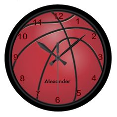 #Basketball | #Red | #Personalize #Clock #zazzlebesties #zazzle.com #designsbydonnasiggy   over 2500 sports products available in my store. www.zazzle.com/designsbydonnasiggy*