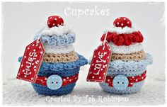 Crochet Cupcakes :D Crochet Cake, Crochet Food, Love Crochet, Crochet Gifts, Crochet Dolls, Knit Crochet, Crochet Decoration, Crochet Animals, Lana