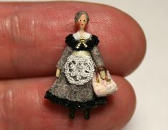 "Miniature Tiny Cloth and Wood Old Lady Toy Doll 7 8ths"" Handmade OOAK 