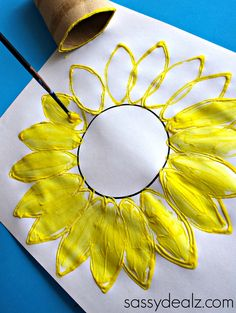 Toilet Paper Roll Sunflower Stamp Craft - Crafty Morning