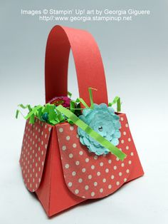 Make this adorable basket with Stampin' Up!'s Petite Purse Die!  Video tutorial: http://youtu.be/EwH9hdfjjrI