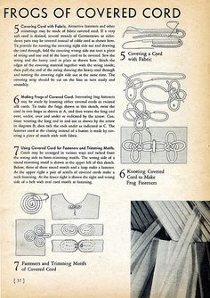 Frogs of Covered Cord, 1939 Sewing Secrets by DominusVobiscum