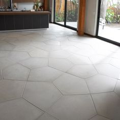 "Ogassian Concrete 31-3/4"" x 23-3/4"" penta floor large field in light grey flooring"