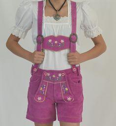 German Import Haus - Ladies Leather Lederhosen - Pink, $75.00 (http://www.germanimporthaus.com/womens-german-clothing/lederhosen-costumes/ladies-leather-lederhosen-pink.html/)