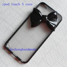 Ipod touch 5 Case  black bow studded black by deshonghandmade, $9.99