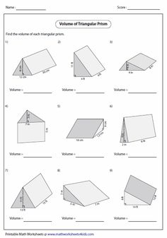 Volume and Surface Area | Surface Area, Geometry Worksheets and ...