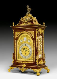 SOLD CHF 10 000 - c1780-90 George III BRACKET CLOCK WITH CARILLON, labelled G.W.F. WEEDEN BROMTON, England. Case with a medallion of Charles III of Spain. Dial with window for seconds and for date. On top: a porcelain medallion depicting a gathering of nobles, with a small disc for setting the clock on each side. Verge escapement striking the 1/2–hour on bell. Carillon with 8 bells for 2 melodies on demand. Exquisite bronze mounts and applications, not original. Wall Clock Vintage Style, Antique Wall Clocks, Retro Clock, Tabletop Clocks, Mantel Clocks, French Clock, Pendulum Wall Clock, Old Antiques, Oeuvre D'art