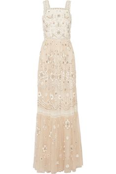 NEEDLE & THREAD Lace-Trimmed Embellished Tulle Gown. #needlethread #cloth #dresses