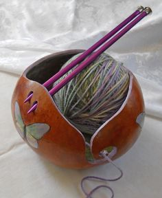 I enjoy growing and crafting with gourds . but this is a new idea for me that I can't wait to try. Butterfly Yarn Bowl Nice idea for knitters and crocheters. Yarn Crafts, Diy And Crafts, Arts And Crafts, Gourd Crafts, Knitting Projects, Craft Projects, Gourds Birdhouse, Painted Gourds, Yarn Bowl