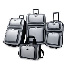 6bd9ce10bd47 US Traveler Silver   Gray New Yorker 4 pc (piece ) Soft-shell Soft-sided  Lightweight Expandable Rolling Luggage Set. More Colors - New Yorker  Luggage Sets.
