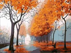 3dRose Art by Mandy Joy Trees - T-Shirts A Realistic Image of a Road and Yellow Trees in The Fall