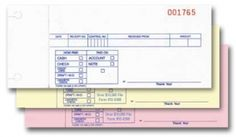 """Cash Receipts - 3 Part - Plain - Packaged 100 per pack. Easy way to track transactions. Part 1 is different from part 2 and part 3. • 6-1/2"""" x 2-5/16"""" (Logo & 4 Line Imprint Available Here) Part 1 • Carbonless – 3-part: White, Canary, Pink • Prints in Blue ink with Red numbering • No choice of numbering on plain form • Packaged 100 per pack"""