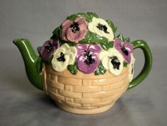Ceramic Art Pottery Teapot Purple White Pansies in Basket 6 Cup Hand Painted