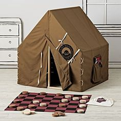 After a hard day of exploring the playroom, any little trailblazer will find our Explorer Playhouse a welcome addition. It features a classic campground cabin style, roomy pockets and a pine frame. Teepee Play Tent, Diy Teepee, Bed Tent, Teepee Kids, Camping Room, Camping Chairs, Rodeo Birthday, Kid Spaces, Kid Beds