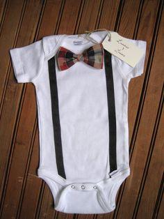 Short Sleeve Bow Tie Onesie with Suspenders, Suspender Onesie, Bow Tie Onesie, Baby Suspenders, Baby Bowtie Onesie, Bowtie Onesie, Baby Boy. $18.00, via Etsy.