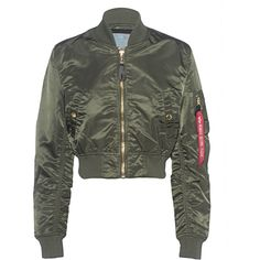 ALPHA INDUSTRIES INC Cropped Bomber Dark Green // Cropped bomber... ($180) ❤ liked on Polyvore featuring outerwear, jackets, slim jacket, cropped jacket, nylon jacket, nylon flight jacket and stand up collar jacket
