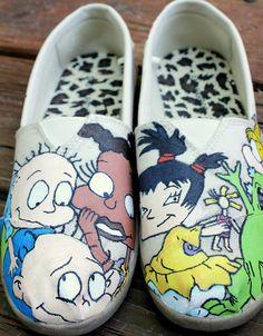 Rugrats TOMS! Custom Vans, Custom Shoes, Custom Sneakers, Cool Artwork, Amazing Artwork, Girls Shoes, Girls Footwear, Hand Painted Shoes, Rugrats