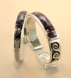 Sugilite Inlay Bracelets by Tom Dinetso, Diné