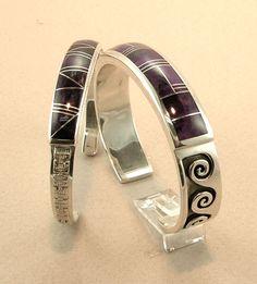 Sugilite Inlay Bracelets by Tom Dinetso, Diné