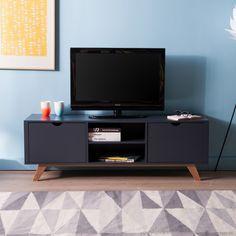 Meuble TV bas en bois avec 2 portes et 2 niches L150cm PABLO 309 euros