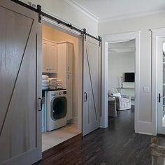 Hall Laundry Room with Gray Wash Barn Doors on Rails