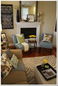 Accessorizing is the key, I so need to accessorize my mantle! | Decor ideas  | Living Rooms, Color Schemes and Colors