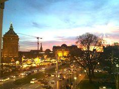 Ausblick über Manneim bei Sonnenuntergang - 1-Zi. Whg. Wasserturm-Blick / Mitten in der City / Hbf.Uni nähe. in Mannheim-Quadrate