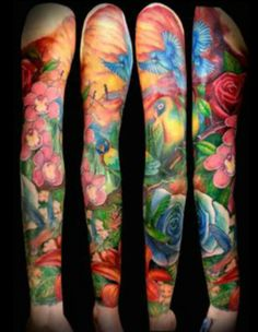 Colourful bird and flower tattoo.