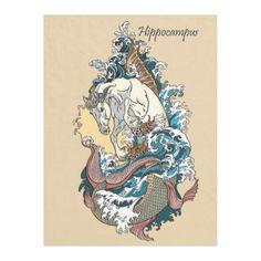 mythological sea horse fleece blanket - horse animal horses riding freedom