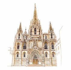 Barcelona Cathedral Sketch, sepia Micron pen and Copic markers.  Sketched for my Barcelona sketch journal page, which also includes my Moleskine drawings and notes on whether Catalonia should secede from Spain.