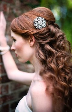 Bride's half up long curl bridal hair idea - California Weddings: http://www.FresnoWeddings.Net/