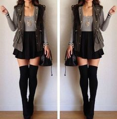 Long Socks Outfit, Thigh High Socks Outfit, Knee High Socks Outfit, High Socks Outfits, Edgy Outfits, Teen Fashion Outfits, Cute Casual Outfits, Pretty Outfits, Fall Outfits