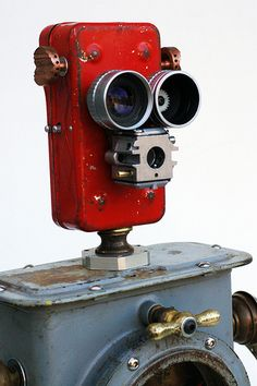 Red recycled robot