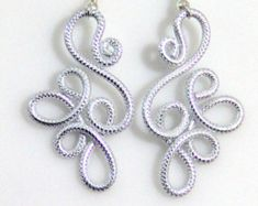 Looptastic Dangle Earrings by melissawoods on Etsyanodized aluminum making them super light weight. This design is made out of tectures silver 12 gaugeSpiral Waves Hypo Allergenic Earrings by melissawoods on EtsyBrowse unique items from melissawoods Tatting Earrings, Tatting Jewelry, Lace Earrings, Tatting Lace, Dangle Earrings, Funky Jewelry, Wire Jewelry, Jewelry Crafts, Handmade Jewelry