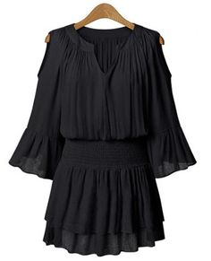 Casual V-Neck Solid Color Hollow Out Double-Layered Dress For Women