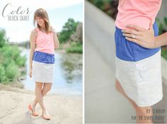 Easy Colorblock Skirt #Sewing Tutorial by Erin of Sewbon...anthro knock-off