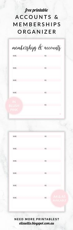 Free Printable Irma Accounts & Memberships Organizer by Eliza Ellis. The perfect way to keep track of all those bank, insurances, utilities, investment and superannuation accounts! Available in 6 colors and in both A4 and A5 sizes. Enjoy!
