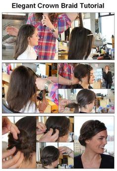 Beauty Tutorials: How To Make Elegant Crown Braid Cool Braid Hairstyles, Braided Hairstyles Tutorials, Hairdos, Curly Hairstyles, Trendy Hairstyles, Hair Creations, Hair Affair, Great Hair, Hair Looks