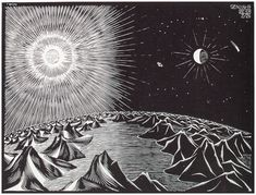 """""""The 4th Day of the Creation"""" by M. C. Escher, 1926"""