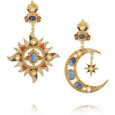 Post and clasp fastening for pierced ears Seed pearls: India Limited pieces available Made in Italy Gold Plated Earrings, Blue Earrings, Stone Earrings, Moon Jewelry, Star Jewelry, Collier Antique, Bling Bling, Jewelry Accessories, Jewelry Design