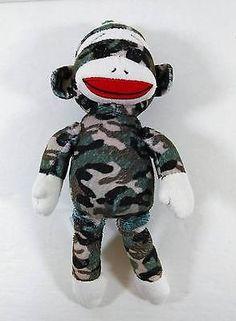 Socks The Camo Monkey Bean Bag Plush Ty Beanie Babies Button Eyes B200
