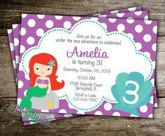 Ariel Little Mermaid Invitation Birthday Inspired Princess Polka Dot Under The Sea Party Digital Printable DIY