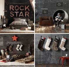 Rock star room - love the chalkboard wall with the letter lights on top