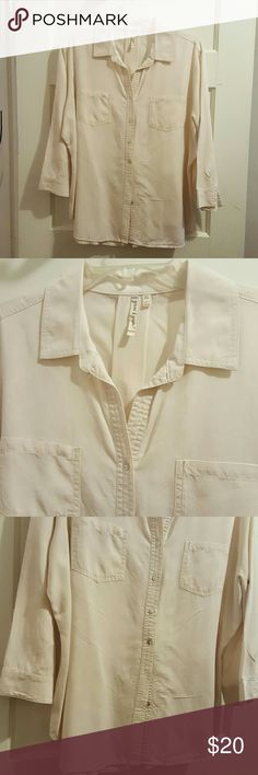 Summer Shirt Button down summer shirt. Elbow lengths/ button close, light comfortable material. Slight pleat in back. Cream color. New condition. Grand & Greene Tops Button Down Shirts